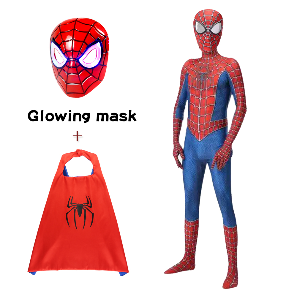 Super Heroes Spiderman With Mask Costume Fancy Dress Men Costume Kids Halloween Costume Red Black Spandex 3D Cosplay Clothing