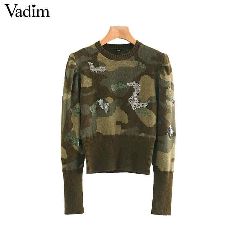 Vadim women chic Camouflage knitted sweaters sequins long sleeve stretchy pullovers female army green casual tops HA563