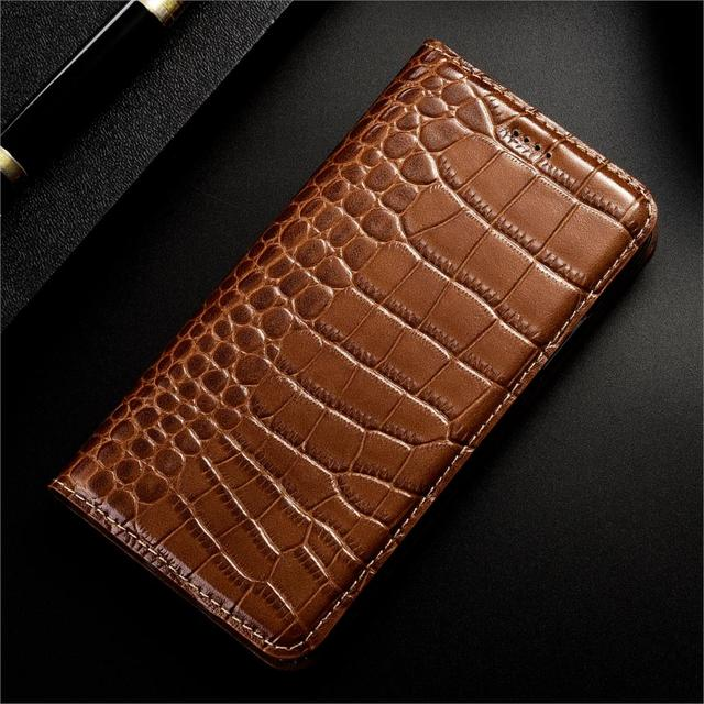 Véritable En Cuir Pour Xiaomi Redmi 3X 4A 4X 5 5A 6 6A 7A 8A 9A 9C 10X K20 K30 Pro Préférentiel Majoré de Crocodile de Luxe Étuis de Téléphone Portable