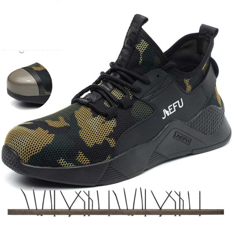 Work Steel Toe Safety Shoes Casual Breathable Camouflage Sneakers Comfortable Industrial Shoes Men Puncture Militar Seguridad