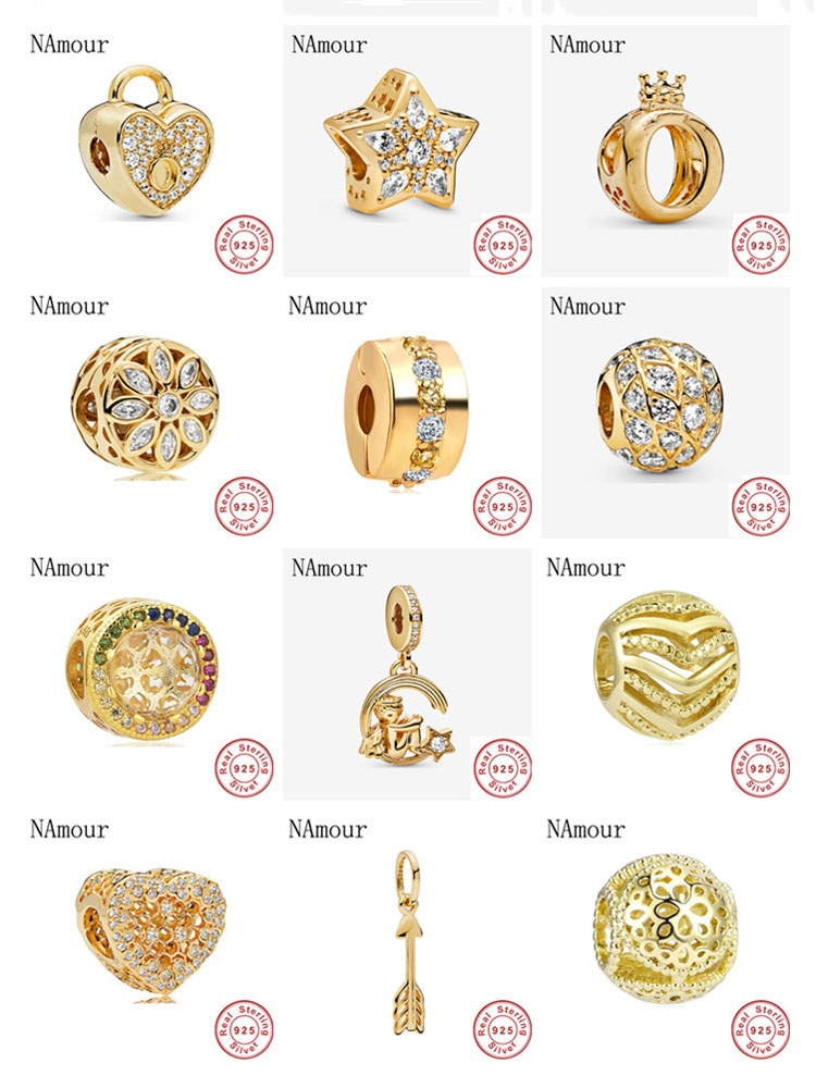 NEW gold path lock clip star arrow honey comb crown Bead fit Original Pandora charms silver 925 Bracelet necklace for women DIY(China)