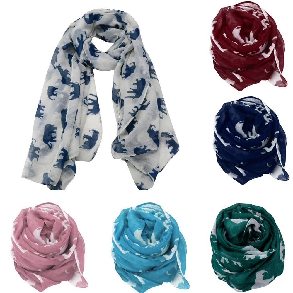 Thin Shawls Floral Print Scarf For Ladies Satin Scarf Lady Womens Long Cute Elephant Print Scarf Wraps Shawl Soft Scarves