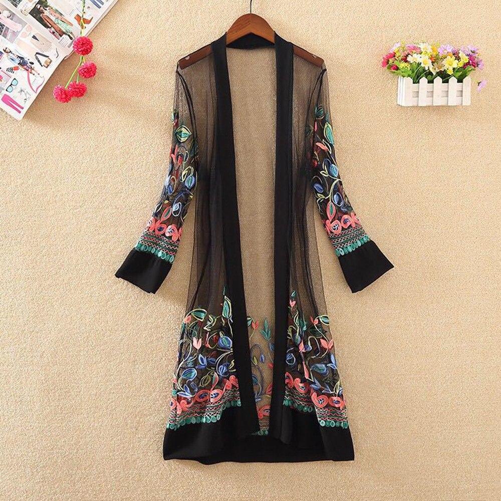 Women Shirts Tops Casual Vintage Kimono Cardigan For Ladies Summer Long Chiffon Kimono Loose Floral Printed Blouse Tops Shirt