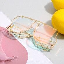 Солнцезащитные очки без оправы в стиле панк металлические женские винтажные Роскошные брендовые модные цельные мужские солнцезащитные очки зеркальные розовые очки UV400 NX