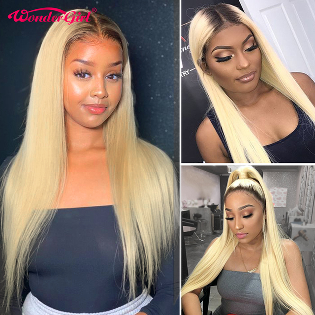 $ US $47.88 613 Blonde Lace Front Wig Pre Plucked 1B 613 Ombre Lace Front Human Hair Wigs 13X4 Remy Brazilian Straight Lace Wig