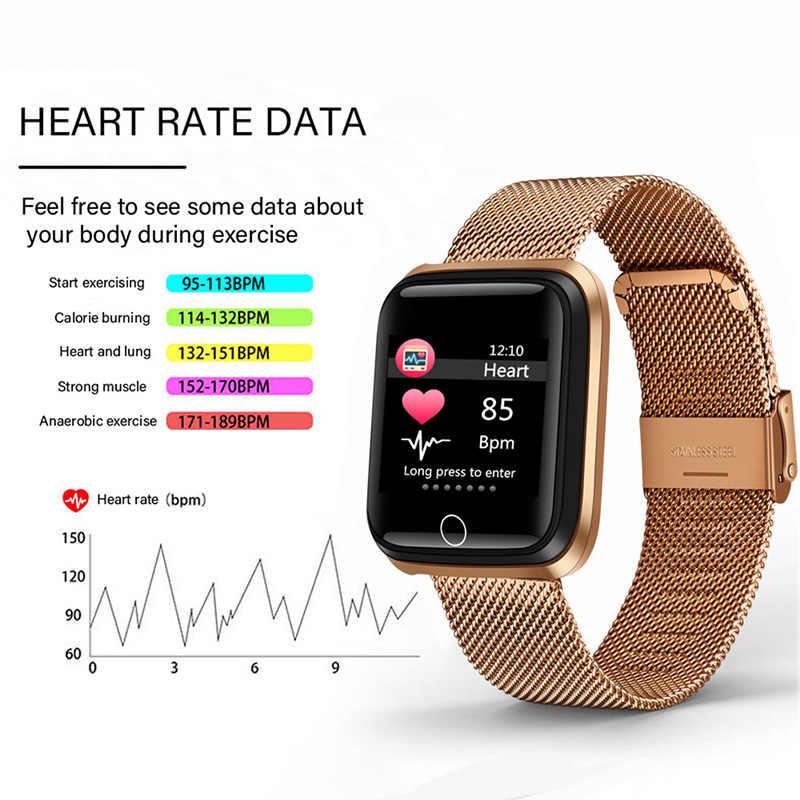 ييج 2019 جديد الذكية الرياضة ووتش المرأة ساعة ذكية الرجال القلب معدل مراقبة ضغط الدم جهاز تعقب للياقة البدنية عداد الخطى سوار ذكي