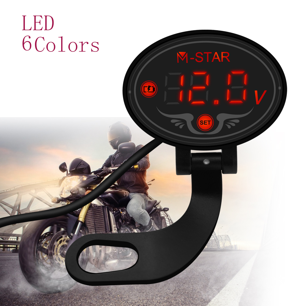 For <font><b>BMW</b></font> <font><b>R1200R</b></font> R1200RT r 1200 rt R1200S R1200ST S1000R Waterproof <font><b>LED</b></font> Digital Voltmeter Tester DC 9V to 24V voltage Panel Meter image