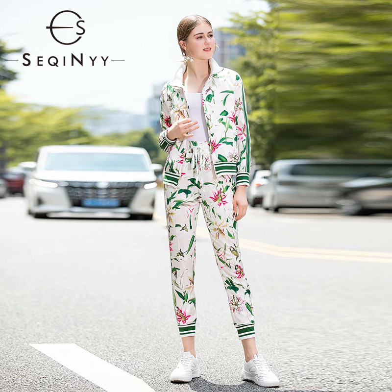 SEQINYY Green Suit 2020 Spring Autumn New Fashion Design Long Sleeve Jacket + Ankle Pants Stripe Romantic Lily Flowers Print Set