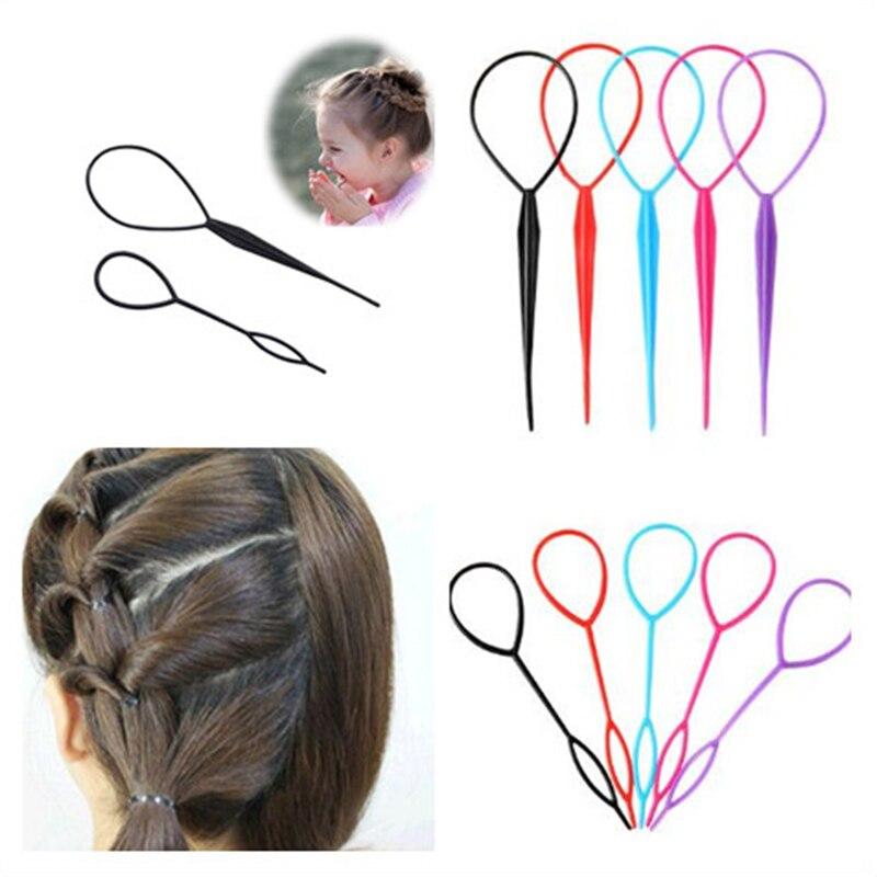2Pcs Simple Magic Hair Twist Styling Tool Plastic Hairstyle Braid Makeup Tool Accessories Popular Ponytail Creator Hair Salon