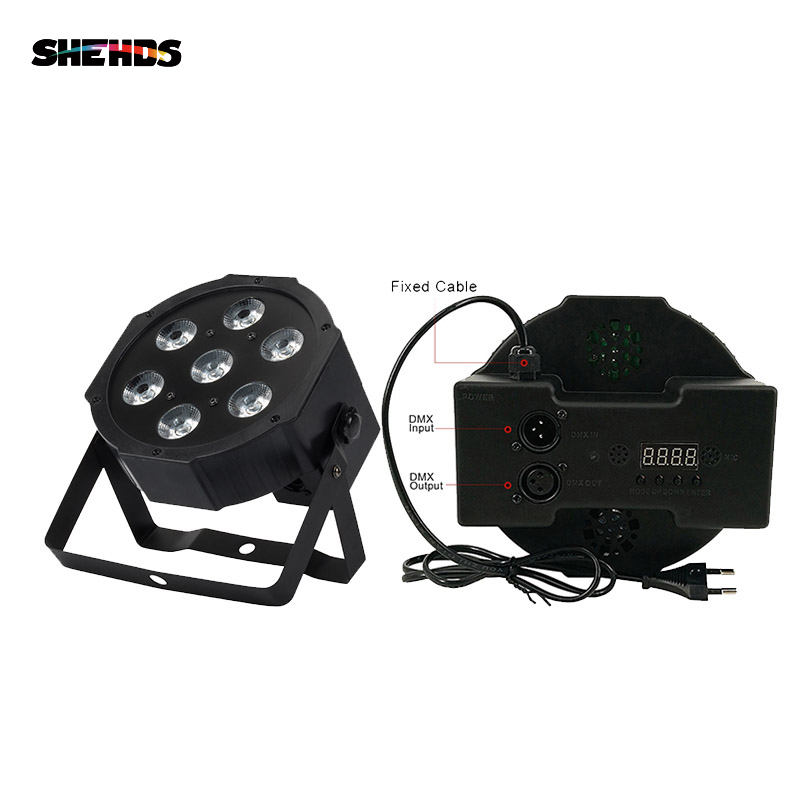 SHEHDS HighLight 7x12W RGBW LED Par Light With DMX512 4in1 Stage Light Wash Effect DJ Disco Stage Equipment Luces Discoteca
