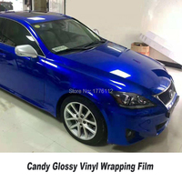 Classic Glossy Candy Vinyl Wrap Film With Air Free Bubble Candy dark blue Gloss Car Wrap Covering Style Size 1.52*20m/Roll