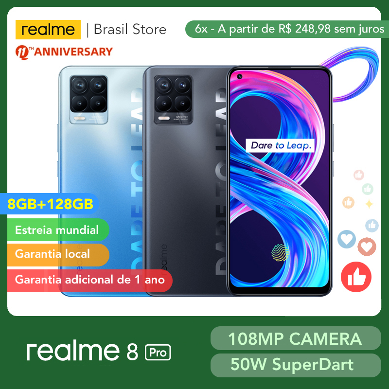 [World Premiere] realme 8 Pro Global Version 8GB 128GB 108MP Camera 50W SuperDart Charge AMOLED Support B2/4 EU Plug Charger