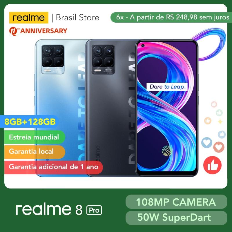 [Мировая премьера] realme 8 Pro глобальная Версия 8 ГБ 128 108MP Камера 50 Вт SuperDart заряда активно-матричные осид, Поддержка B2/4 штепсельная вилка европе...