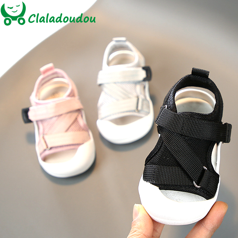 11.5-15cm Mesh Baby Boys Girls Sandals Closed Toe Safe Toddler Summer Shoes Gray Black Pink Cross Fashion Flats Walkers For 0-2Y