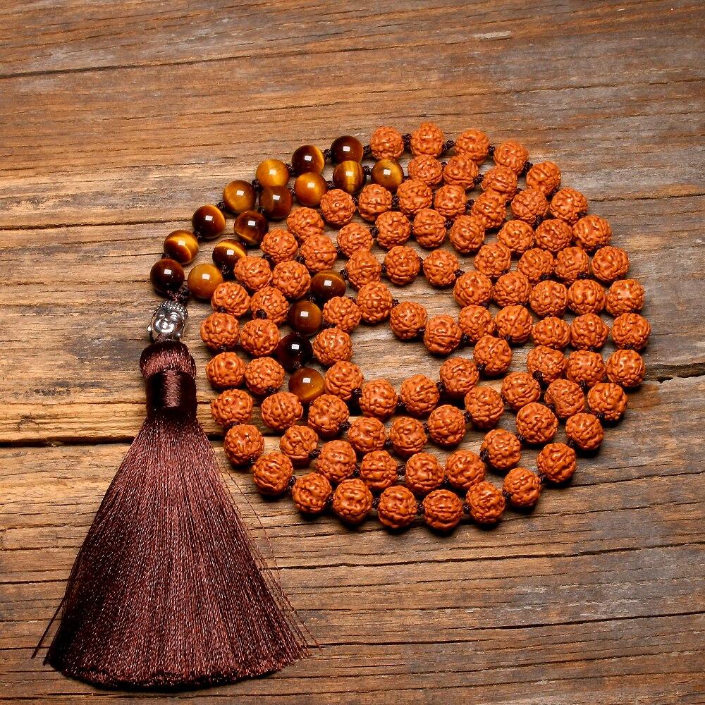 Natural Rudraksha 108 Japamala Necklaces Knotted Tiger Eye Yoga Meditation Buddha Mala Necklace For Women Pendant With Tassel