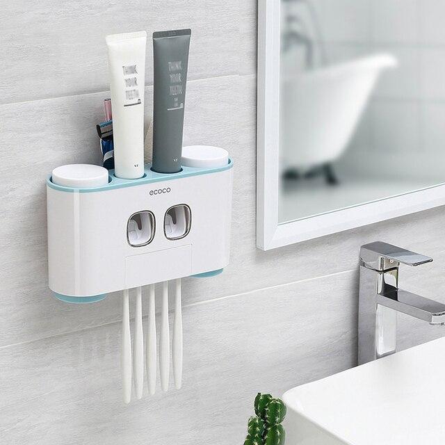 ECOCO support de brosse à dents mural Auto pressage distributeur de dentifrice brosse à dents dentifrice tasse stockage accessoires de salle de bain support de rangement brosse à dents et dentifrice avec 4 tasses
