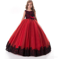 Red Black Lace Flower Girls Dresses Graduation Dresses for Teens Formal Clothing Bow Girls Dresses Custom Made