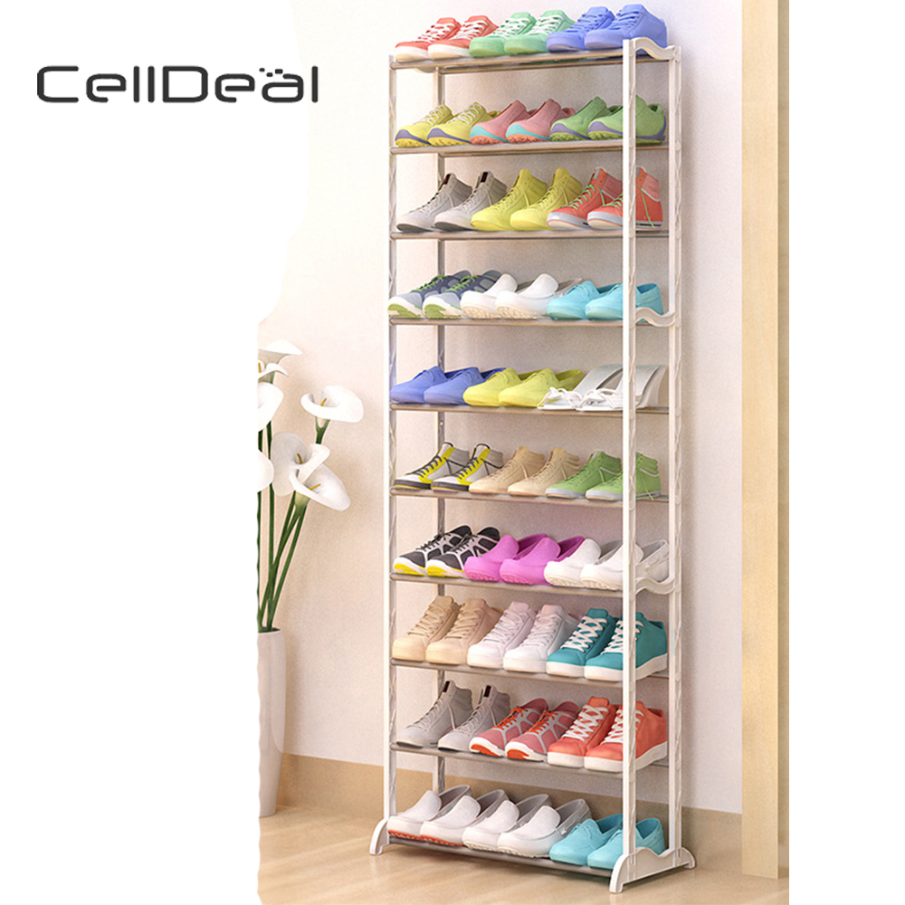 CellDeal 10 Tier Shoes Heels Storage Organiser Stand Shelf Rack Holds 20/30 Pairs Shoes Shoes Organizers Shoes Rack
