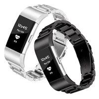 ل Fitbit Charge2 3 4 ساعة ذكية الفولاذ المقاوم للصدأ حزام ، المعادن سوار بأبزيم ، الذهب والفضة والأسود استبدال حزام معدني