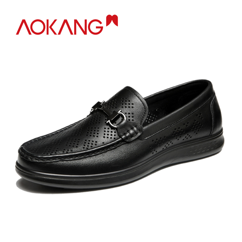 Aokang Men Genuine Leather Loafers Men Shoes Summer Breathable Mens Loafers Moccasins Black Driving Shoes Male Fashion Flats