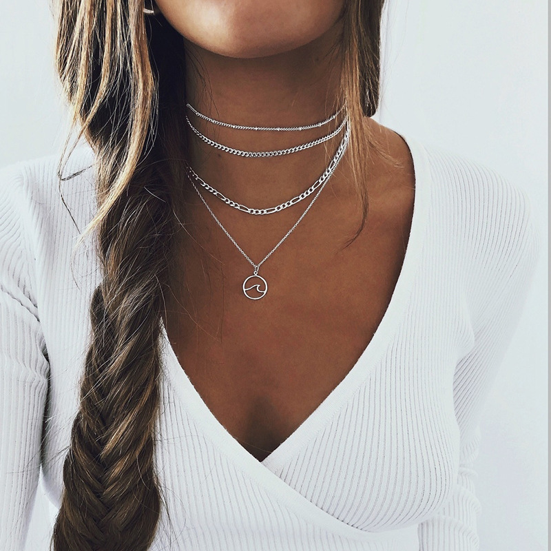 Sea Wave Pendant Necklace for Women Geometric Clavicle Chain Gold Silver Color 2020 Fashion Jewelry Layered Necklaces Simple New