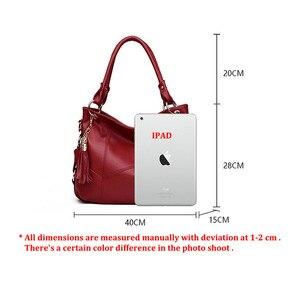 Image 5 - Fashion large tote shoulder bag women A4 leather handbags tassel big crossbody hand bags ladies red purple creamy white beige