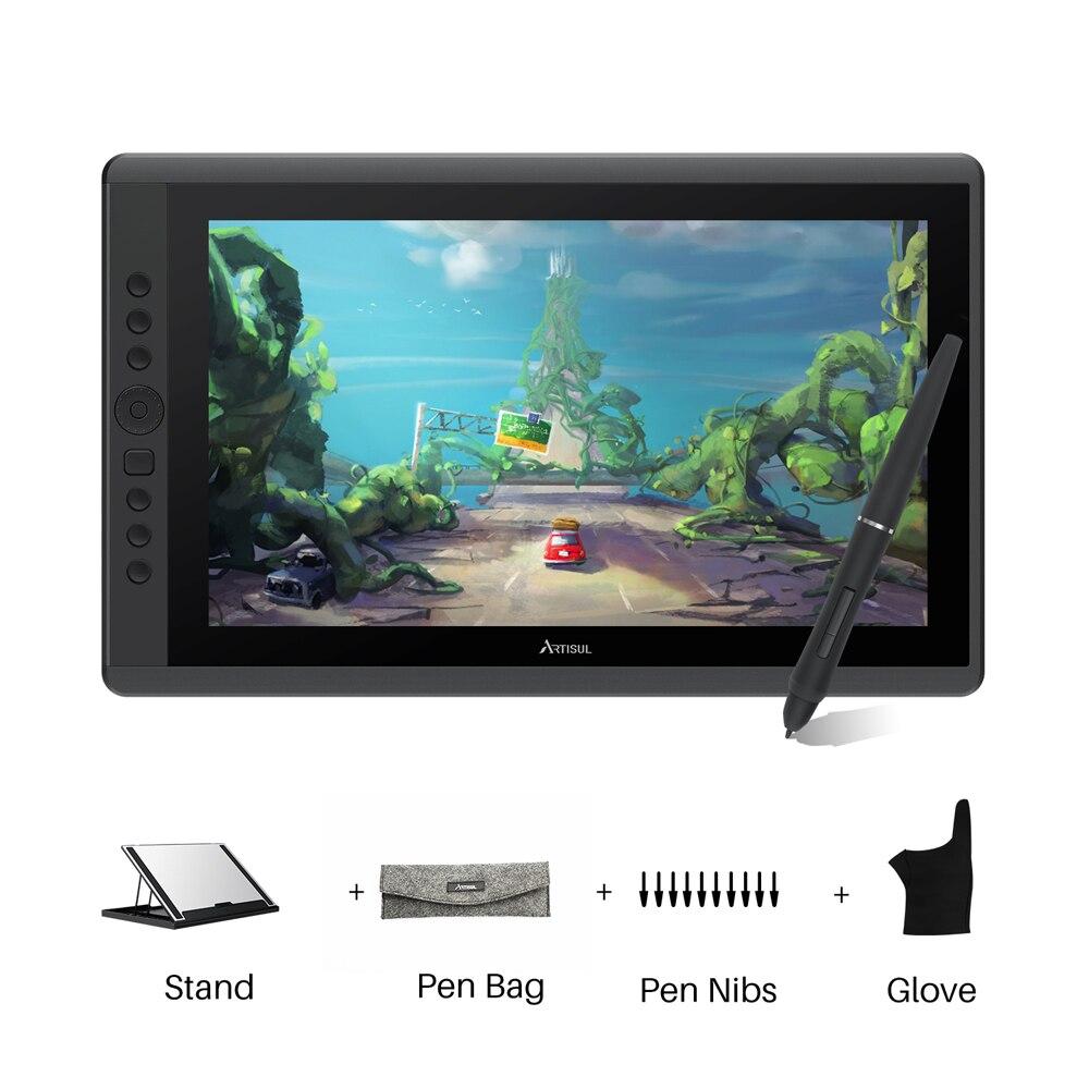 Artisul d16 15.6 polegadas gráficos tablet stylus bateria-livre 8192 níveis digital desenho tablet caneta display monitor com chaves