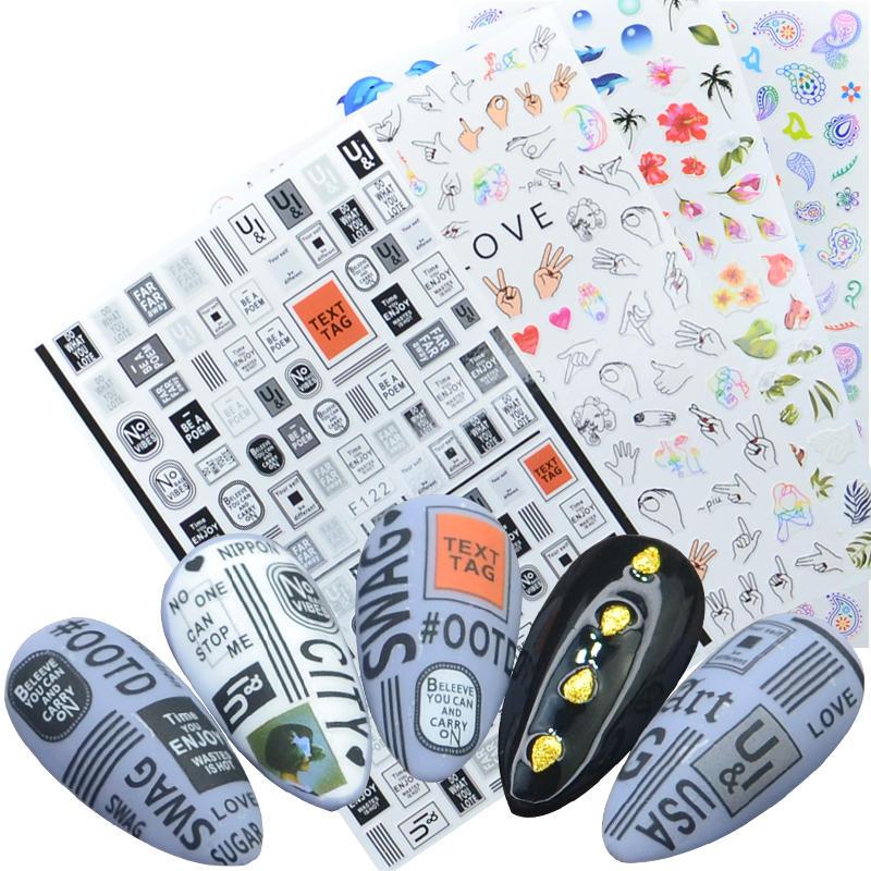 1 лист, 3D наклейки для ногтей, клейкие наклейки, цветы, листья, геометрия, фрукты, десерт, дизайны, слайдеры, тату, маникюрные украшения|Стикеры и наклейки|   | АлиЭкспресс