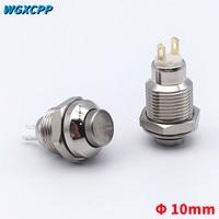 Interruptor de botón de Metal de cabeza alta, 1 Uds., 10mm, Mini redondo, momentáneo/de bloqueo, 2 pines, equipo eléctrico, 1NO,3A250VAC