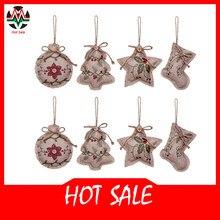 Rustikalen Weihnachten Baum Ornamente Strumpf Dekorationen Sackleinen Land Weihnachten Strumpf Ball Baum Glocke mit Rot und Grün Holly