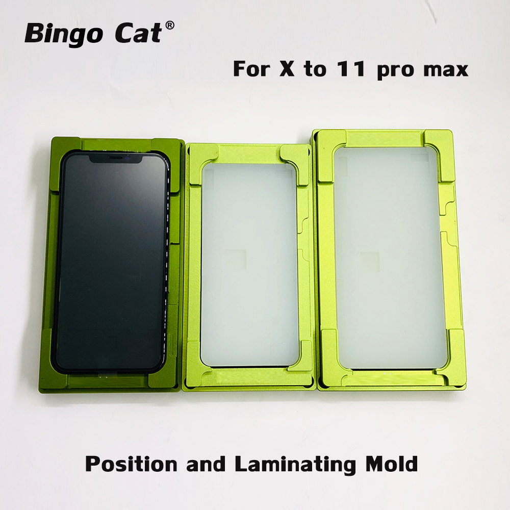 2 In 1 Universal Laminating Mold For IPhone 11 XR XS Max OCA Glass LCD Touch Screen Alignment Mould Glue Location Rubber Mat