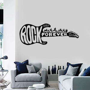 Наклейка на стену Rock Forever, огненная электрогитара, музыка, жесткая металлическая виниловая наклейка на окно, декорация для интерьера в комна...