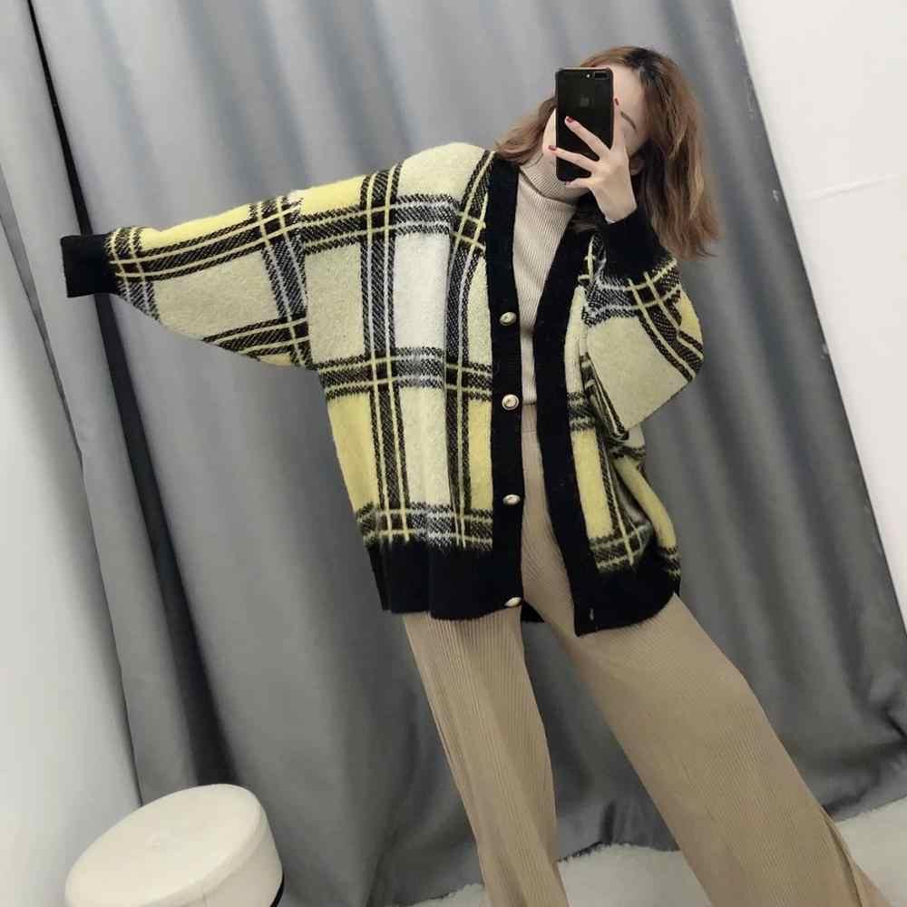 Za 새로운 가을 겨울 여성 카디건 격자 무늬 니트 스웨터 여성 전체 슬리브 캐주얼 루스 스타일 스웨터 여성 탑스