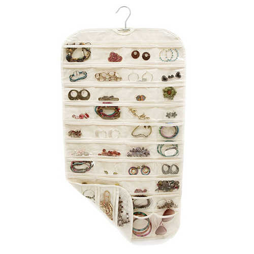 80 bolsillos 2 colgante lateral bolsa para guardar joyas bolsa transparente pendiente colgante de joyas organizador de almacenamiento de collares 46x88cm