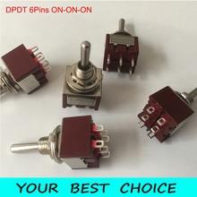 5 sztuk/partia DPDT 6 pinów 3 pozycja ON ON ON gitara Mini przełącznik Rocker