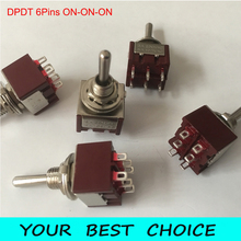 5pcs/Lot DPDT 6Pins 3Position ON ON ON Guitar Mini Rocker Toggle Switch