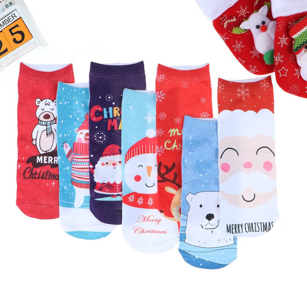 1 Pasang Wanita 3D Kaus Kaki Natal Musim Dingin Hangat Stereo Sox Katun Lembut Lucu Santa Claus Rusa Dicetak Pergelangan Kaki Kaus Kaki Natal perahu Kaus Kaki Kaus Kaki
