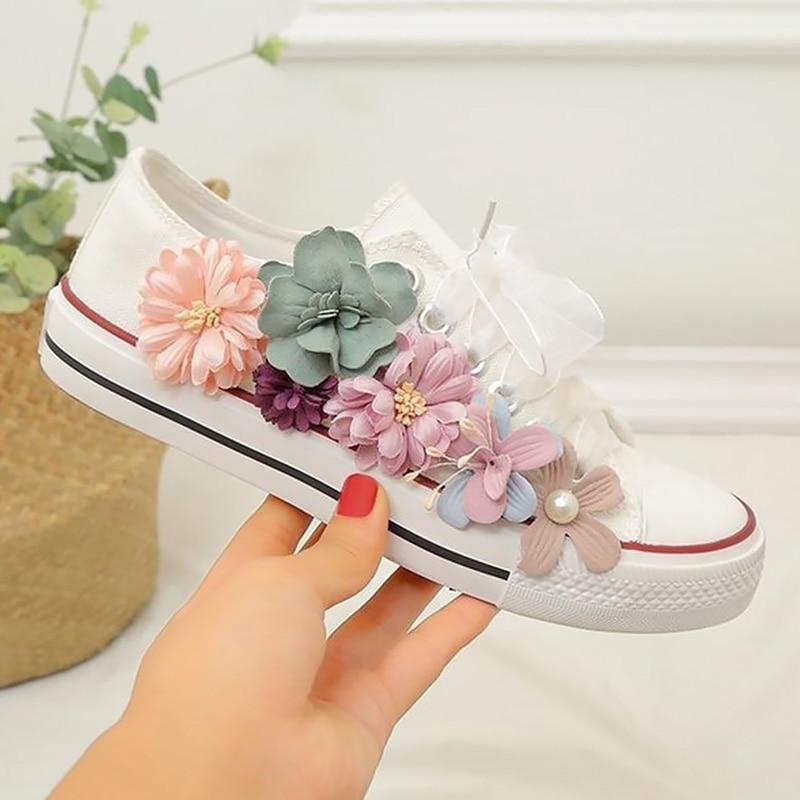 Woman Shoes Women's Canvas Sneakers Flower Fashionable Womens Sneaker Nonslip Wear Resistant Casual Woman Tennis