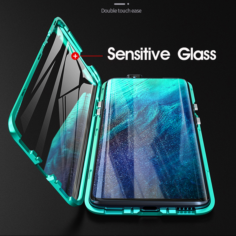 Double Side 360 Degree Magnetic Adsorption Metal Glass Case For Oneplus 8T Nord 8 Pro 7 7T Pro 6T 6 Phone Cover