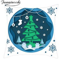Fuwatacchi Winter Cushion Covers Snowman Pillows Home Decoration for Chair Sofa Polyester Pillowcases Snow 45X45cm