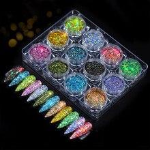 12pcs/set Nail Glitter Powder Dust Iridescent Flakes Sequins