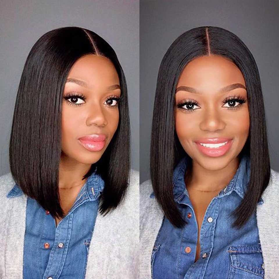 Straight Short Bob Wig 4x4 Lace Colsure Human Hair Wigs Brazilian Lace Frontal Closure Wigs For Women Natural Color Remy Hair