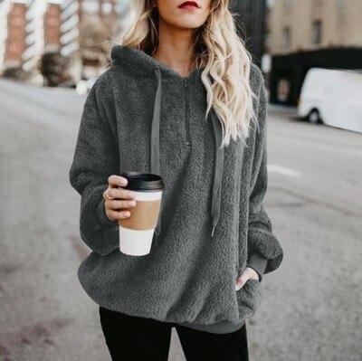 2019 Winter Women Sherpa Hoodies Oversized Fleece Hooded Pullover Loose Fluffy Coat Warm Streetwear Hoodies 5