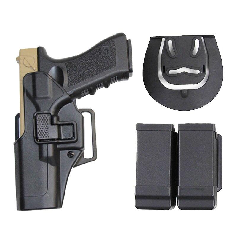 Funda de arma táctica para caza para Glock 17 19 22 23 31 32 Airsoft, funda de pistola derecha izquierda, fundas para revistas, funda para cinturón de tiro
