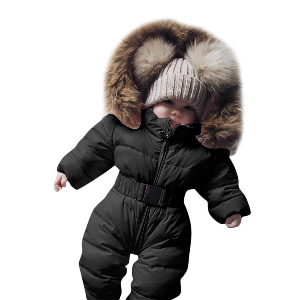 Winter Newborn Baby Romper Solid Thick Warm Infant Snowsuit Down Jacket Long Sleeve Hooded Baby Jumpsuit Baby Winter Clothes