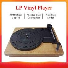 """33/45/78 סל""""ד שיא נגן עתיק גרמופון פטיפון דיסק ויניל RCA לאוזניות עץ צבע נייד פטיפון רמקול"""
