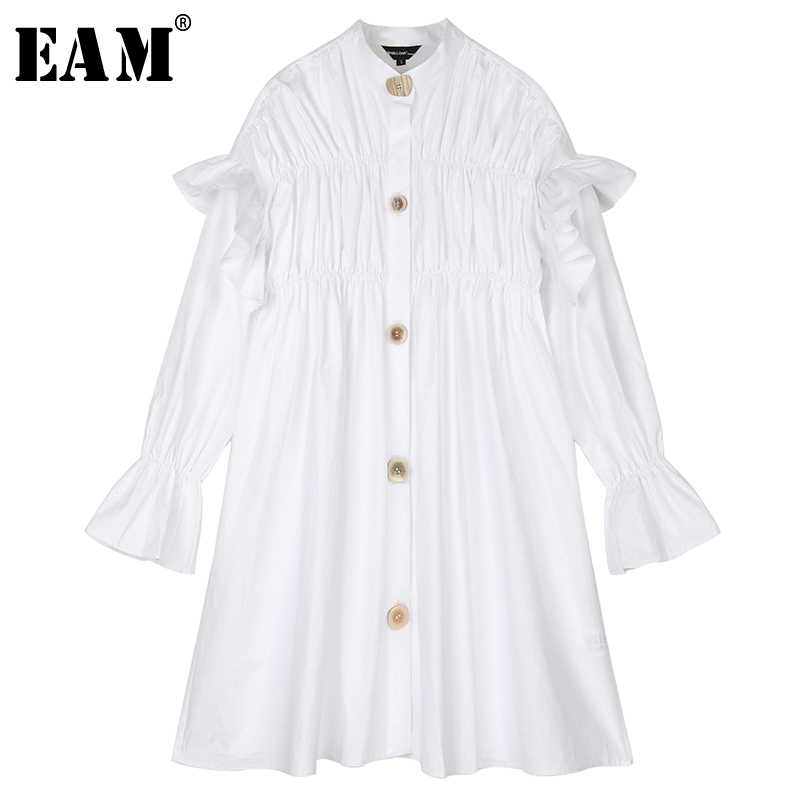 [EAM] Women White Ruffles Stitch Temperament Dress New Stand Collar Long Sleeve Loose Fit Fashion Tide Spring Autumn 2019 1B432