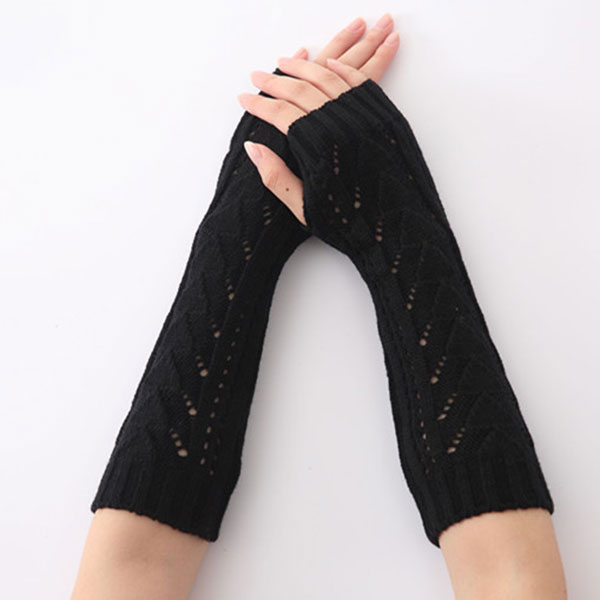 Newly 1Pair Women Winter Long Gloves Knitted Fingerless Gloves Half Hollow Arm Sleeves Guantes Mujer IR-ing