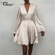 Women Party Short Dress Celmia Solid Color Long Sleeve Elegant Satin Dresses Bandage Wrap Waist Sundress Plus Size Mini Vestidos