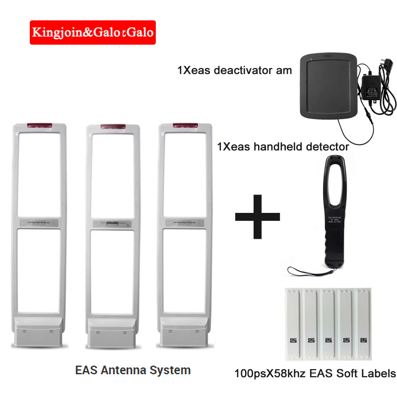 High quality EAS anti theft system with Soft Labels tags & Deactivator & Handheld Frequency Tester(1 master and 2 slaves)|EAS System| |  - title=